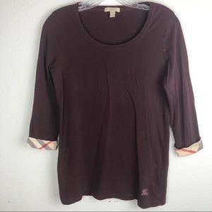Burberry Brit Check Sleeve Maroon Top